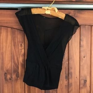 Sheer black top with built in cami